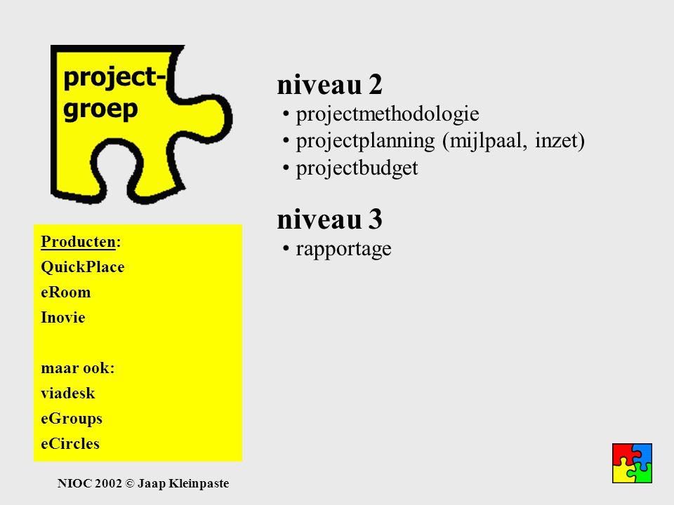 NIOC 2002 © Jaap Kleinpaste projectgroep project- groep Niveau 2: projectplanning met individuele taken ondersteuning project- managentmethode relatie met metaproject projectmethodologie projectplanning (mijlpaal, inzet) projectbudget niveau 2 niveau 3 rapportage Niveau 3: rapportage aan project- leider en opdrachtgevers producten naar portfolio self- en peerassessment assessmentresultaten naar portfolio Producten: QuickPlace eRoom Inovie maar ook: viadesk eGroups eCircles