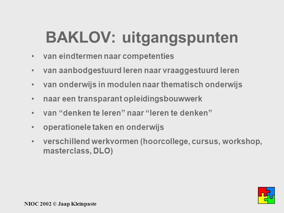 NIOC 2002 © Jaap Kleinpaste van eindtermen naar competenties van aanbodgestuurd leren naar vraaggestuurd leren van onderwijs in modulen naar thematisc