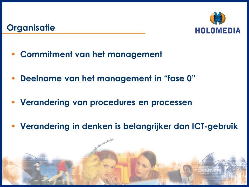 """Organisatie Commitment van het management Deelname van het management in """"fase 0"""" Verandering van procedures en processen Verandering in denken is bel"""
