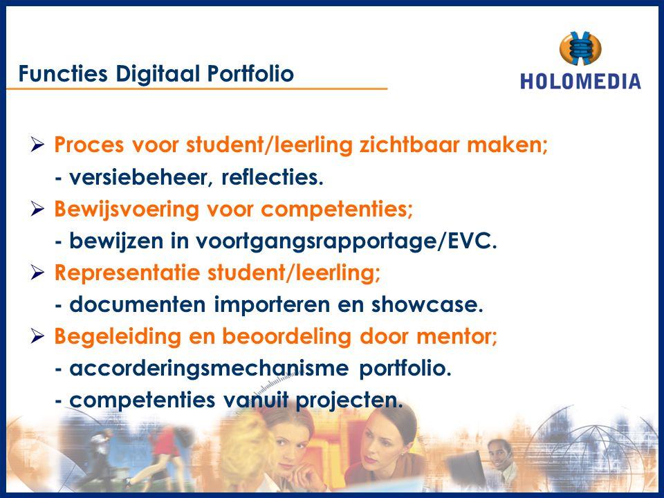 Functies Digitaal Portfolio  Proces voor student/leerling zichtbaar maken; - versiebeheer, reflecties.  Bewijsvoering voor competenties; - bewijzen