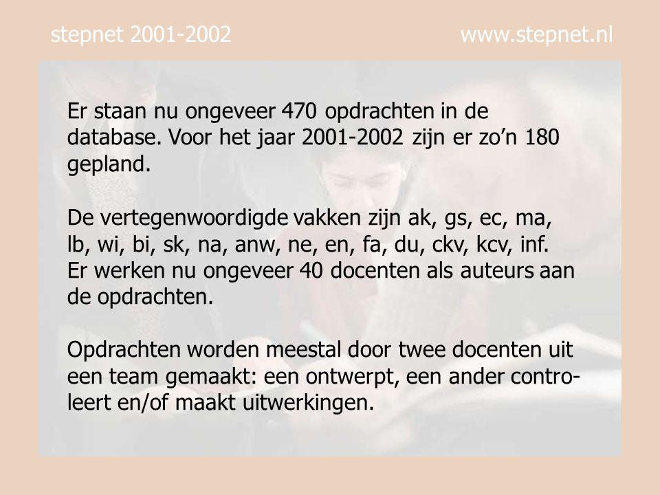 stepnet 2001-2002 www.stepnet.nl Er komen om de drie weken opdrachten bij een vak op de site van Stepnet te staan.