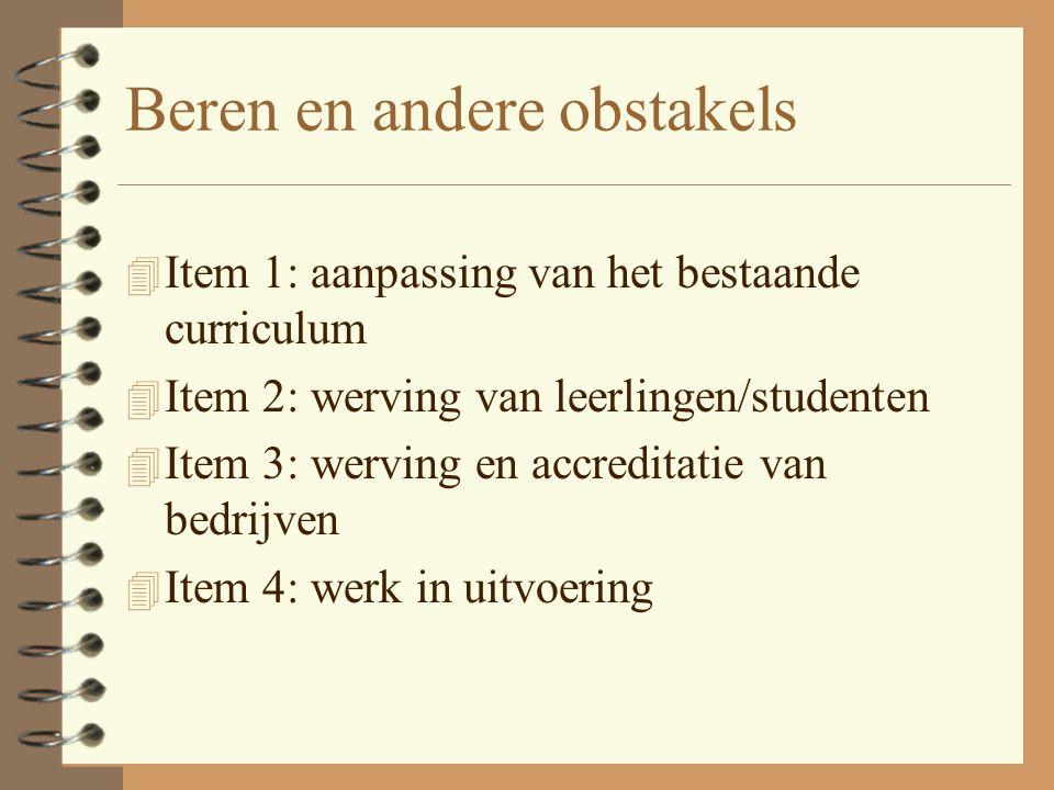 Beren en andere obstakels 4 Item 1: aanpassing van het bestaande curriculum 4 Item 2: werving van leerlingen/studenten 4 Item 3: werving en accreditatie van bedrijven 4 Item 4: werk in uitvoering