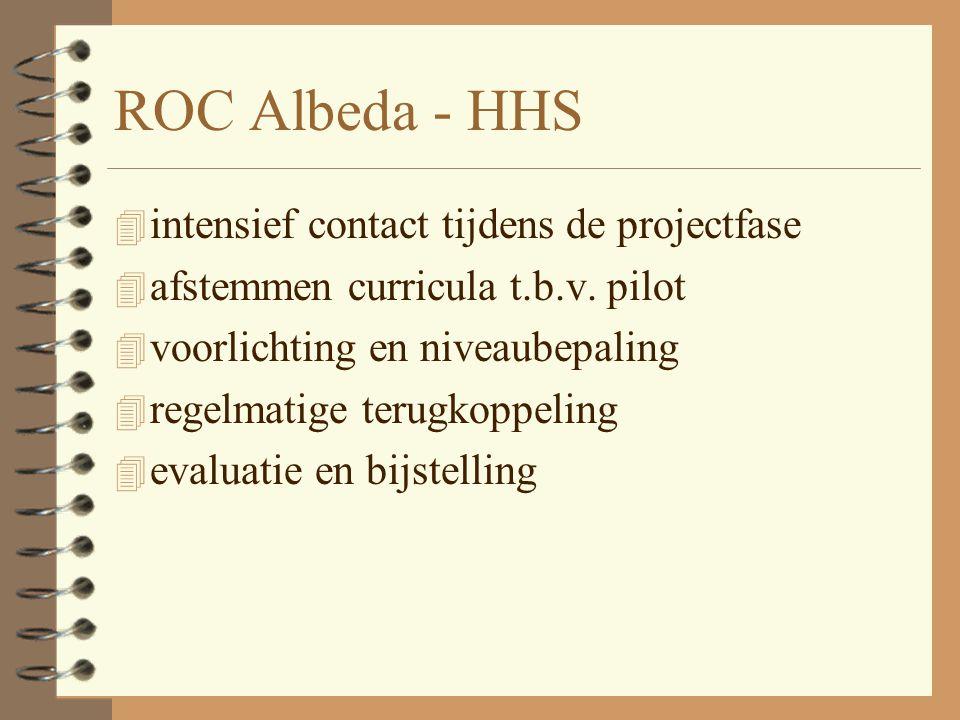 ROC Albeda - HHS 4 intensief contact tijdens de projectfase 4 afstemmen curricula t.b.v. pilot 4 voorlichting en niveaubepaling 4 regelmatige terugkop