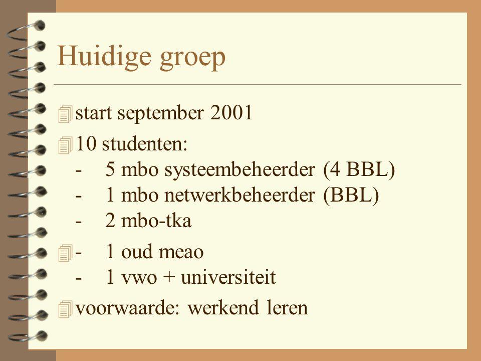 Huidige groep 4 start september 2001 4 10 studenten: -5 mbo systeembeheerder (4 BBL) -1 mbo netwerkbeheerder (BBL) -2 mbo-tka 4 -1 oud meao -1 vwo + u