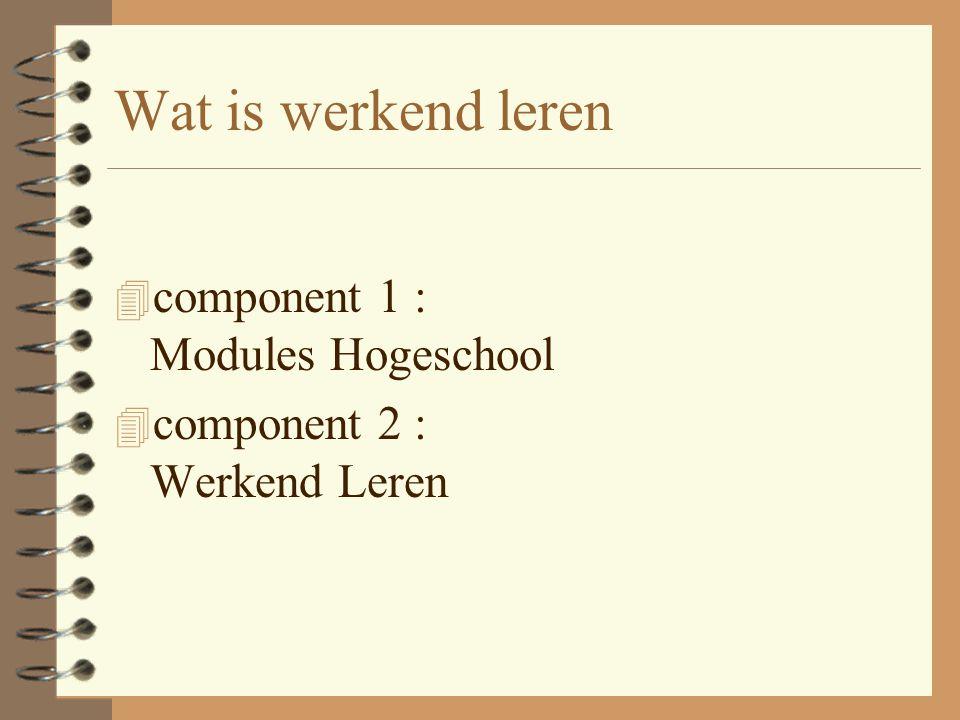 Wat is werkend leren 4 component 1 : Modules Hogeschool 4 component 2 : Werkend Leren