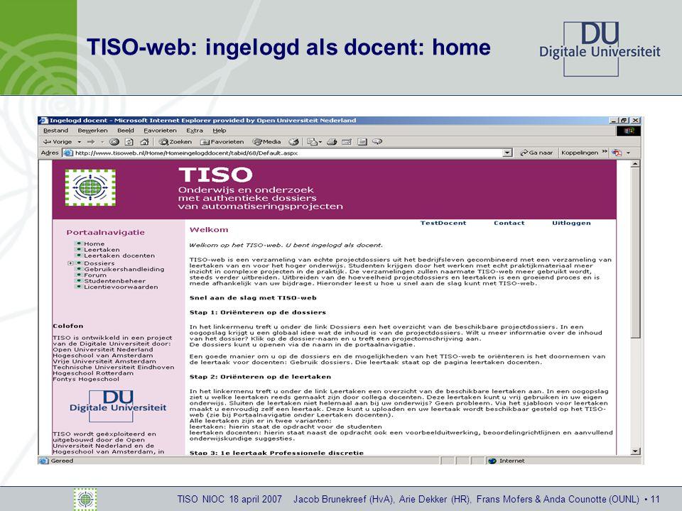 TISO NIOC 18 april 2007 Jacob Brunekreef (HvA), Arie Dekker (HR), Frans Mofers & Anda Counotte (OUNL) 11 TISO-web: ingelogd als docent: home