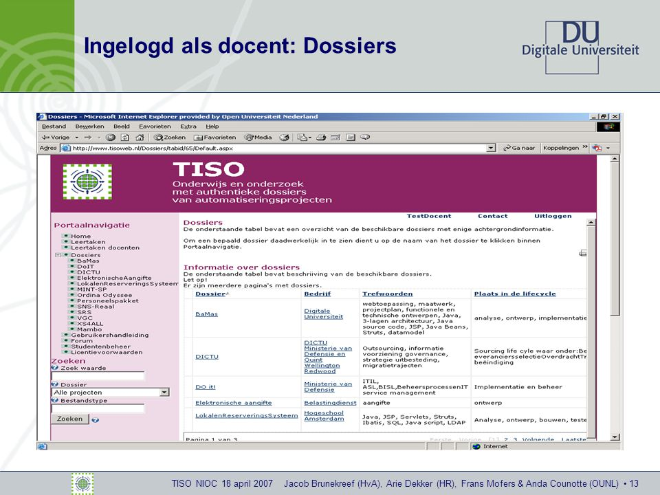 TISO NIOC 18 april 2007 Jacob Brunekreef (HvA), Arie Dekker (HR), Frans Mofers & Anda Counotte (OUNL) 13 Ingelogd als docent: Dossiers