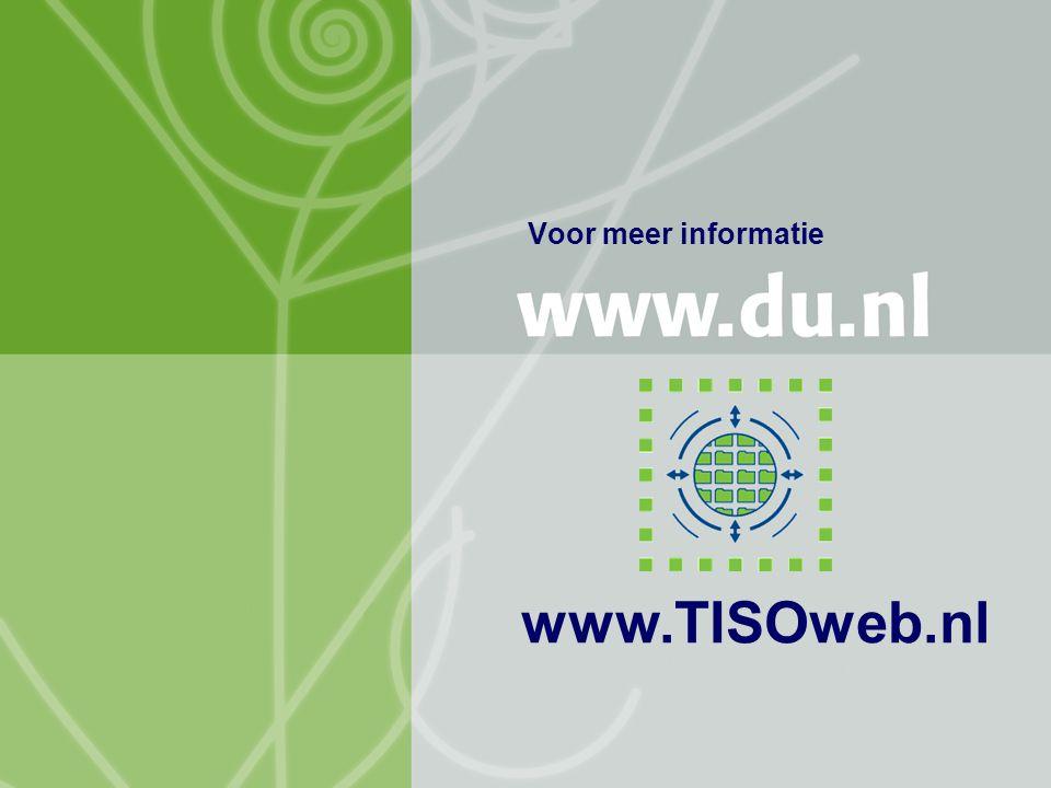 TISO NIOC 18 april 2007 Jacob Brunekreef (HvA), Arie Dekker (HR), Frans Mofers & Anda Counotte (OUNL) 16 Voor meer informatie www.TISOweb.nl