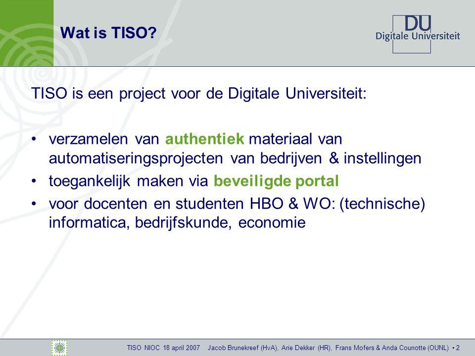 TISO NIOC 18 april 2007 Jacob Brunekreef (HvA), Arie Dekker (HR), Frans Mofers & Anda Counotte (OUNL) 13 Ingelogd als docent: Dossiers