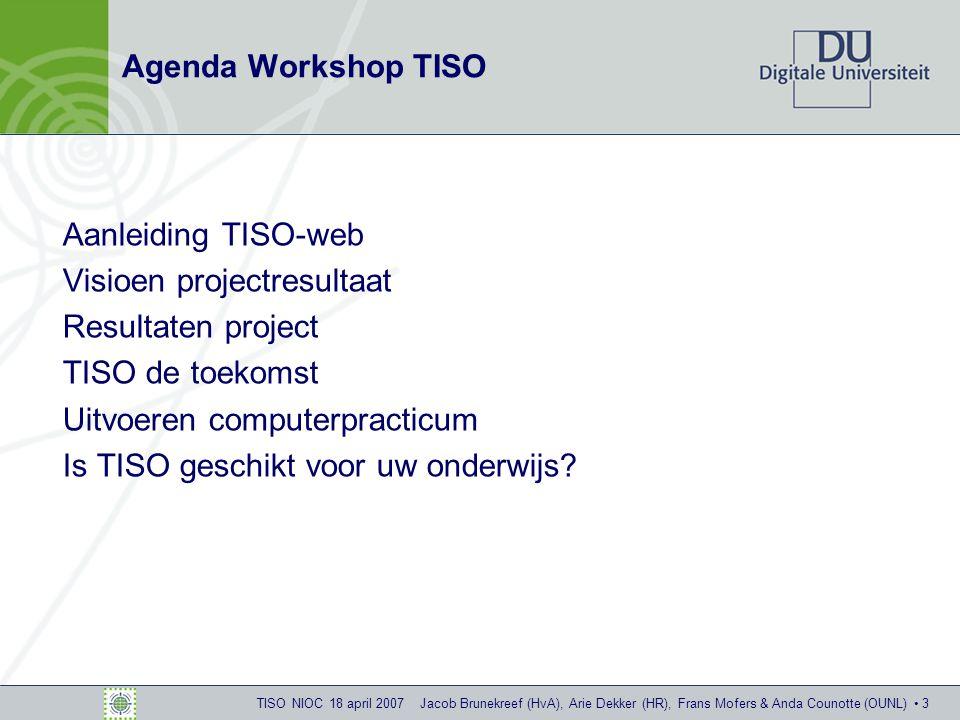 TISO NIOC 18 april 2007 Jacob Brunekreef (HvA), Arie Dekker (HR), Frans Mofers & Anda Counotte (OUNL) 14 Ingelogd als docent: dossiervoorbeeld