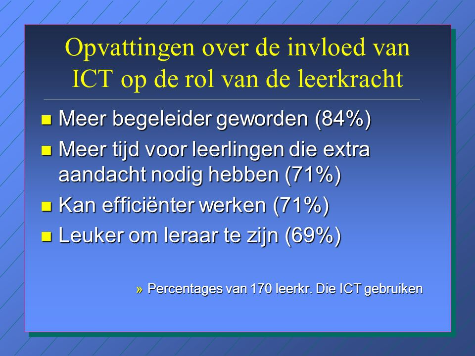 Ernstige belemmeringen voor de (toename van de) inzet van ICT n Tijd voor professionalisering (67%) n Kwaliteit van de lerarenopleiding (54%) n Beschikbaarheid van nascholing (40%) n Beschikbaarheid van apparatuur (36%) n Kwaliteit van nascholing (27%) n Beschikbaarheid van software (27%) »percentages van 170 leerkr.