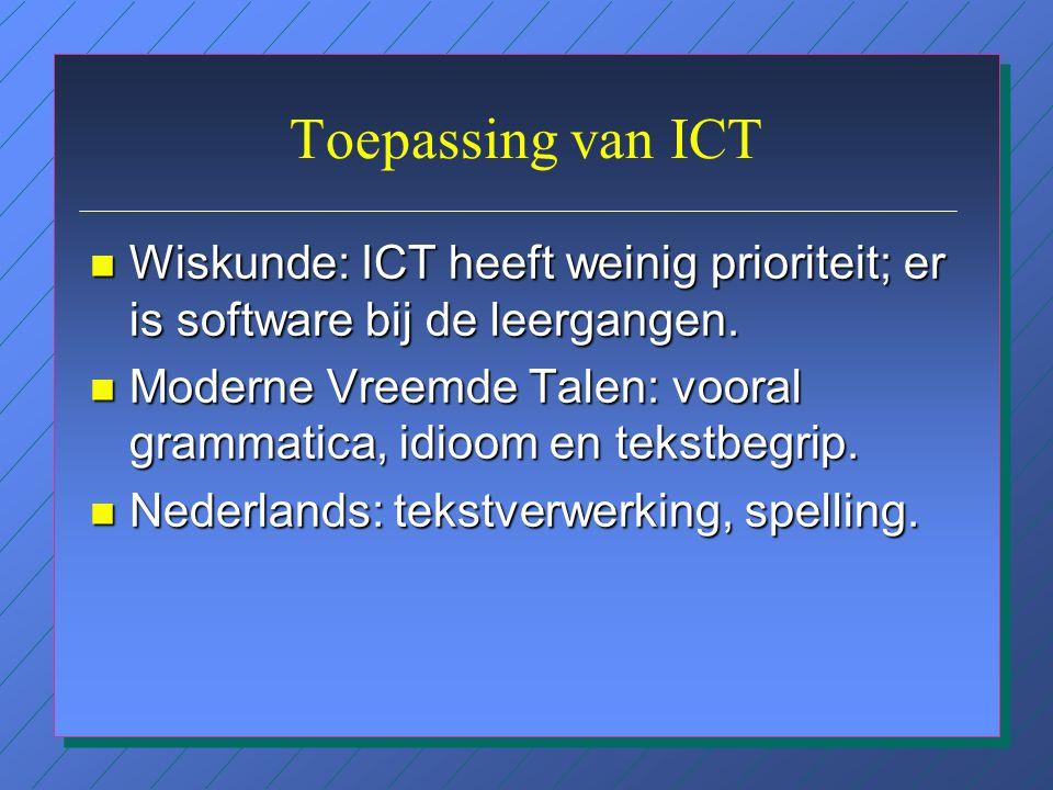 Belemmeringen volgens schoolleiders en ICT-coördinatoren n Docenten zijn vaak onbekend met didactische mogelijkheden van ICT; n Scholing is vaak geric
