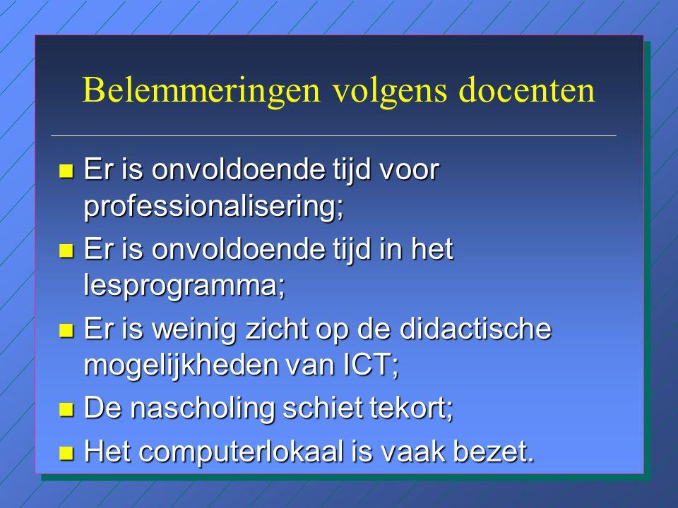 Toepassing van ICT n Wiskunde: ICT heeft weinig prioriteit; er is software bij de leergangen. n Moderne Vreemde Talen: vooral grammatica, idioom en te