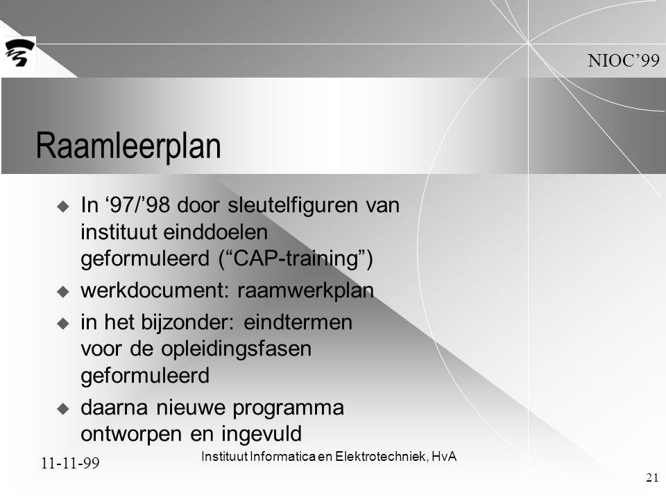 11-11-99 NIOC'99 Instituut Informatica en Elektrotechniek, HvA 21 Raamleerplan  In '97/'98 door sleutelfiguren van instituut einddoelen geformuleerd ( CAP-training )  werkdocument: raamwerkplan  in het bijzonder: eindtermen voor de opleidingsfasen geformuleerd  daarna nieuwe programma ontworpen en ingevuld