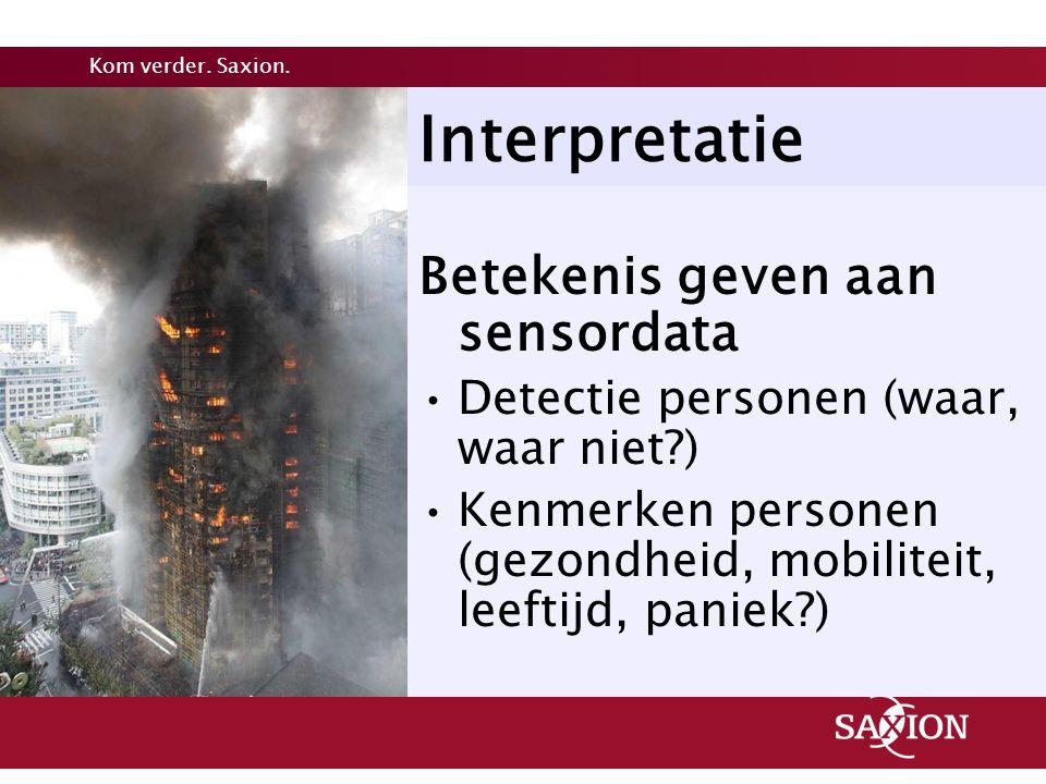 Kom verder. Saxion. Interpretatie Betekenis geven aan sensordata Detectie personen (waar, waar niet?) Kenmerken personen (gezondheid, mobiliteit, leef