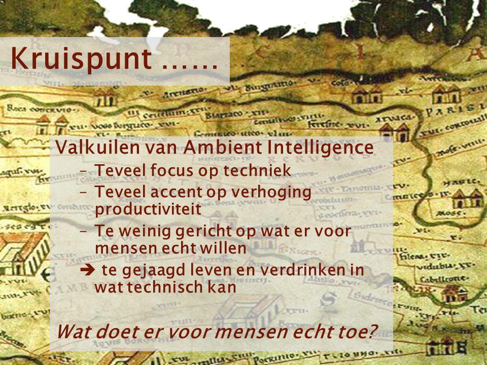 Kom verder. Saxion. Kruispunt …… Valkuilen van Ambient Intelligence –Teveel focus op techniek –Teveel accent op verhoging productiviteit –Te weinig ge