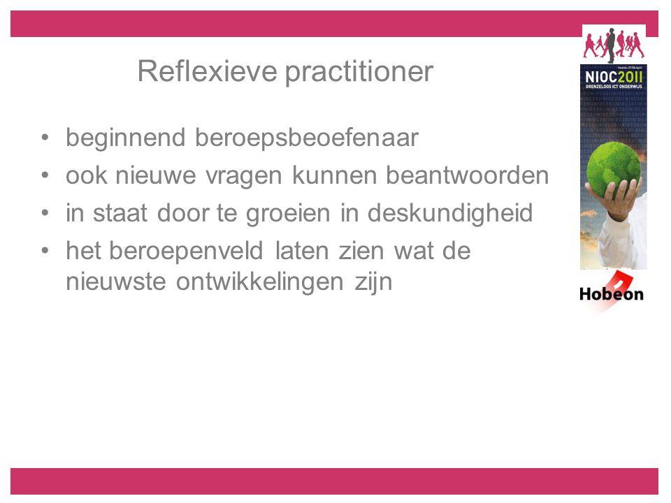 Reflexieve practitioner beginnend beroepsbeoefenaar ook nieuwe vragen kunnen beantwoorden in staat door te groeien in deskundigheid het beroepenveld l