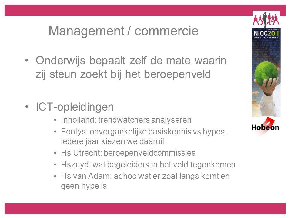 Management / commercie Onderwijs bepaalt zelf de mate waarin zij steun zoekt bij het beroepenveld ICT-opleidingen Inholland: trendwatchers analyseren