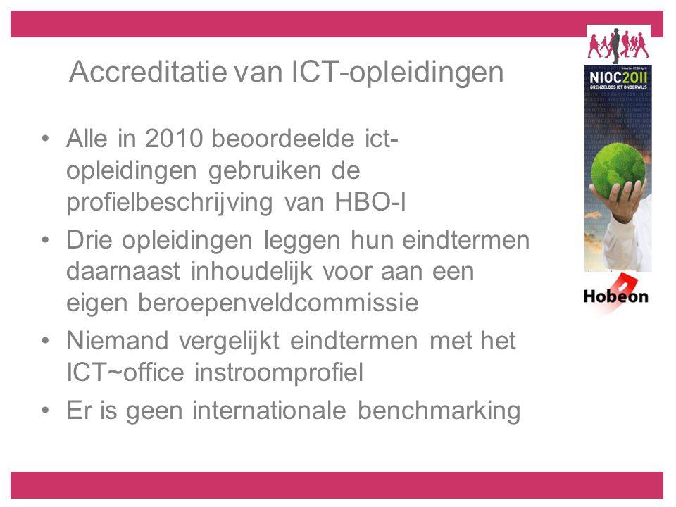 Accreditatie van ICT-opleidingen Alle in 2010 beoordeelde ict- opleidingen gebruiken de profielbeschrijving van HBO-I Drie opleidingen leggen hun eindtermen daarnaast inhoudelijk voor aan een eigen beroepenveldcommissie Niemand vergelijkt eindtermen met het ICT~office instroomprofiel Er is geen internationale benchmarking
