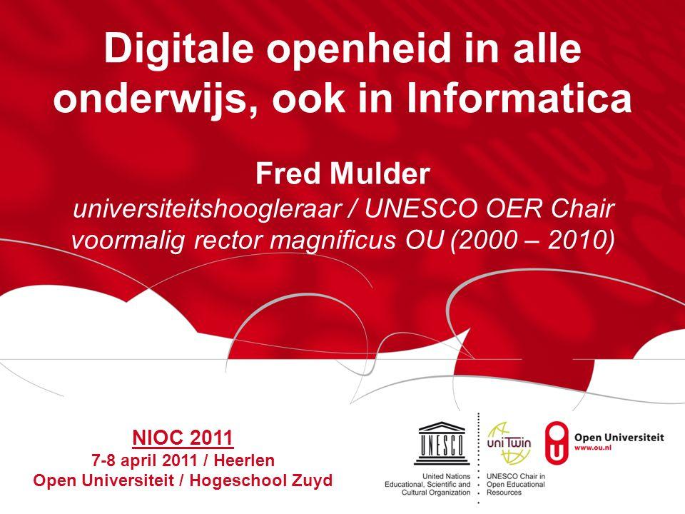 NIOC 2011 / Heerlen Pagina 12 OER (NL) [3] OUOU en TU Delft op iTunes U: vanaf jan.