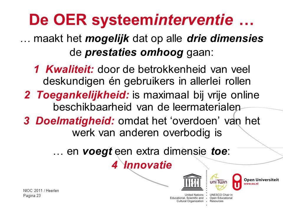 NIOC 2011 / Heerlen Pagina 23 De OER systeeminterventie … … maakt het mogelijk dat op alle drie dimensies de prestaties omhoog gaan: 1 Kwaliteit: door