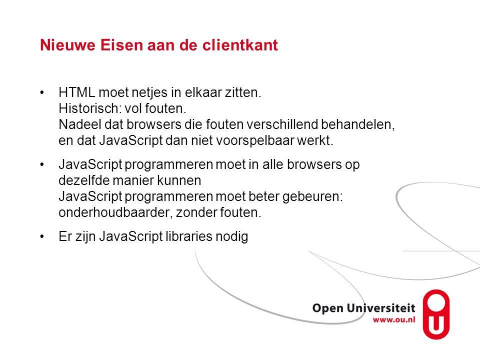 Nieuwe Eisen aan de clientkant HTML moet netjes in elkaar zitten.