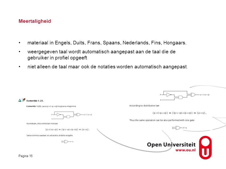 Pagina 15 Meertaligheid materiaal in Engels, Duits, Frans, Spaans, Nederlands, Fins, Hongaars.