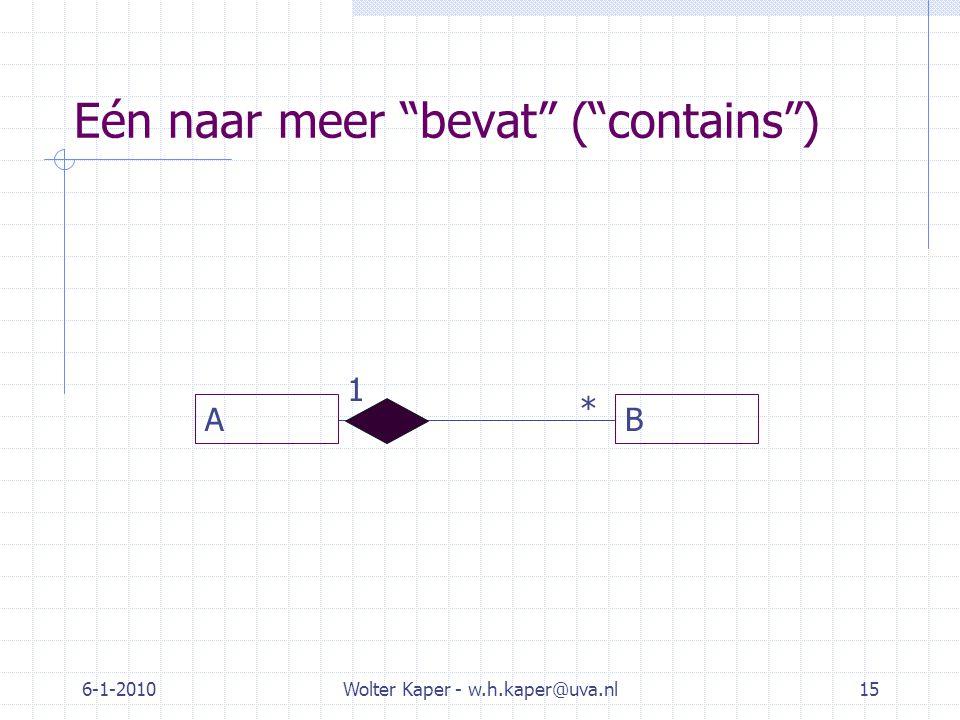 Eén naar meer bevat ( contains ) 6-1-2010Wolter Kaper - w.h.kaper@uva.nl15 AB 1 *