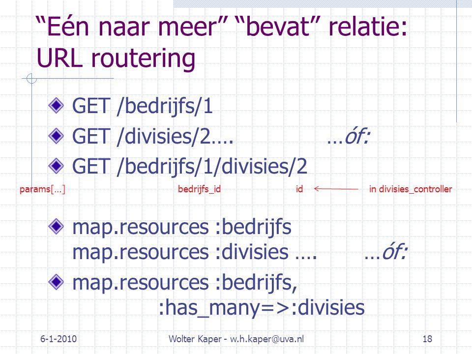 Eén naar meer bevat relatie: URL routering GET /bedrijfs/1 GET /divisies/2….