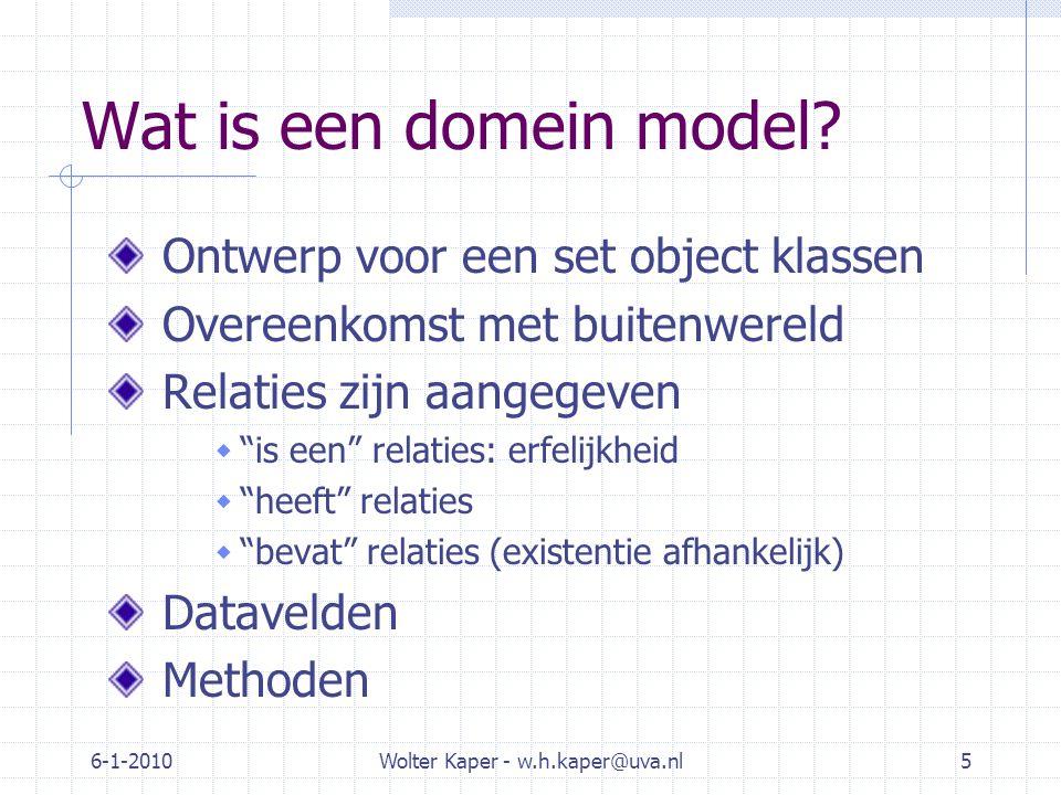6-1-2010Wolter Kaper - w.h.kaper@uva.nl5 Wat is een domein model.
