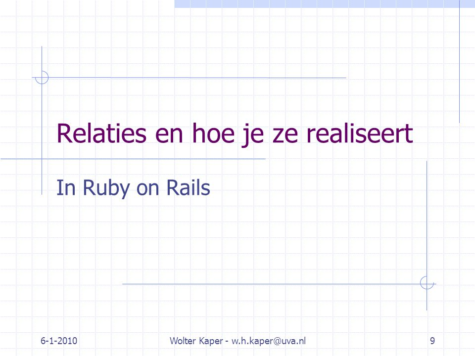 6-1-2010Wolter Kaper - w.h.kaper@uva.nl9 Relaties en hoe je ze realiseert In Ruby on Rails