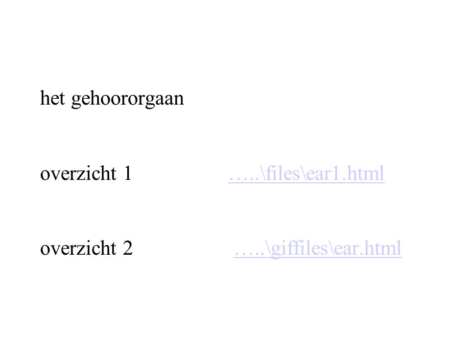 het uitwendige gehoororgaan belangrijk i.v.m richtinghoren…..\files\ear2.html…..\files\ear2.html