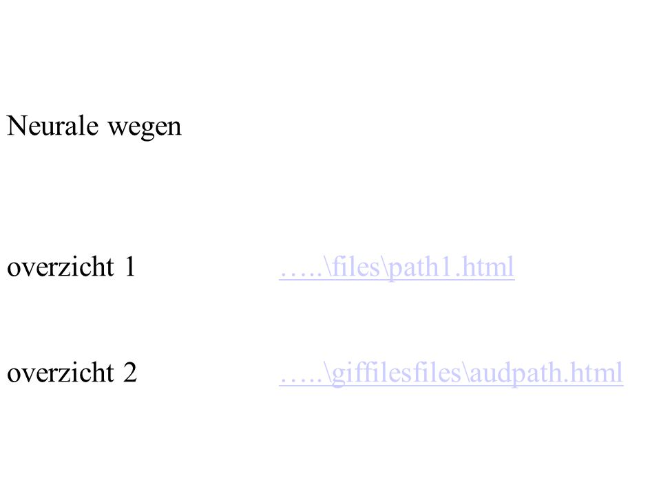 Neurale wegen overzicht 1 …..\files\path1.html overzicht 2 …..\giffilesfiles\audpath.html…..\files\path1.html…..\giffilesfiles\audpath.html