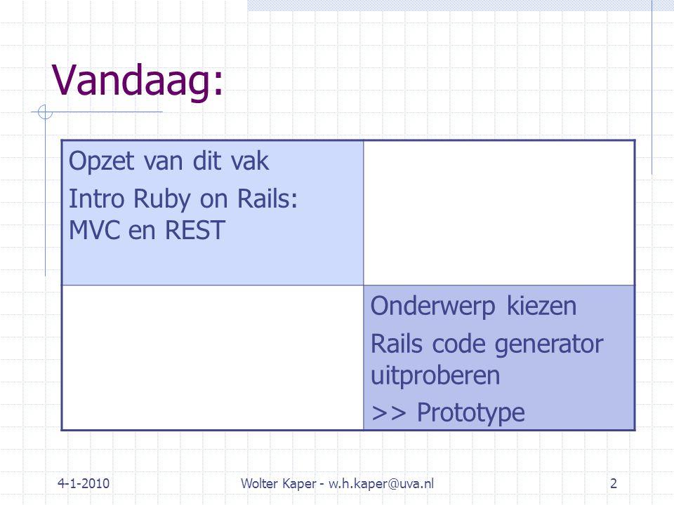 4-1-2010Wolter Kaper - w.h.kaper@uva.nl13 Ruby-on-Rails praktijk