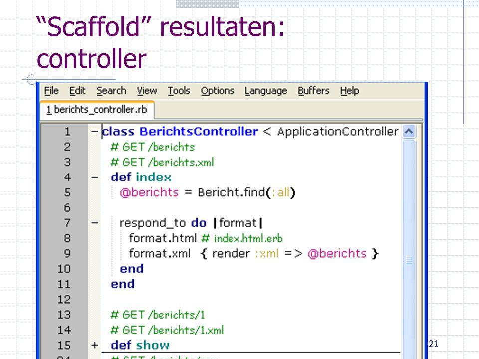 4-1-2010Wolter Kaper - w.h.kaper@uva.nl21 Scaffold resultaten: controller