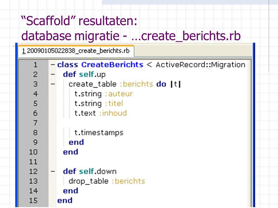 4-1-2010Wolter Kaper - w.h.kaper@uva.nl24 Scaffold resultaten: database migratie - …create_berichts.rb