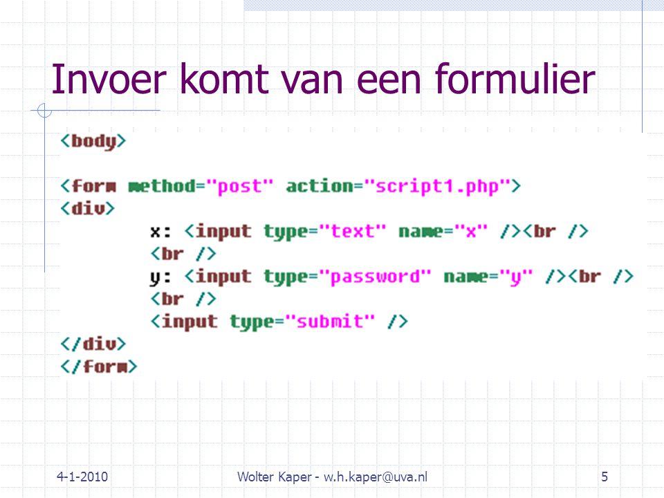 4-1-2010Wolter Kaper - w.h.kaper@uva.nl6 Talen en frameworks voor SSS Microsoft ASP.NET / … PHP / CakePHP Java / JSP, JSF, Hibernate  XML tags die java-klassen activeren Ruby / Ruby on Rails Trends  Eerst: programmeerwerk ingebed in webpagina.