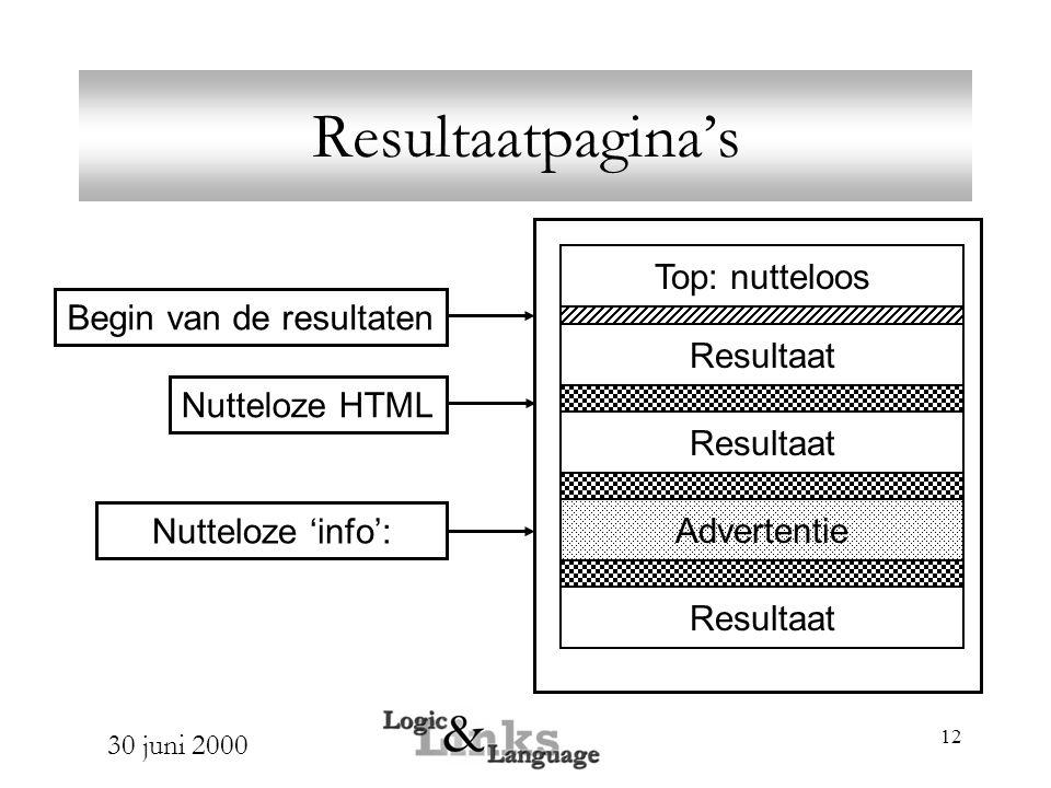 30 juni 2000 12 Resultaatpagina's Top: nutteloos Resultaat Advertentie Begin van de resultaten Nutteloze 'info': Nutteloze HTML