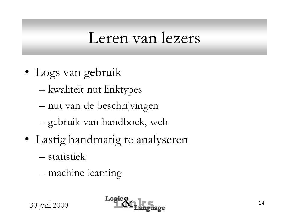 30 juni 2000 14 Leren van lezers Logs van gebruik –kwaliteit nut linktypes –nut van de beschrijvingen –gebruik van handboek, web Lastig handmatig te analyseren –statistiek –machine learning