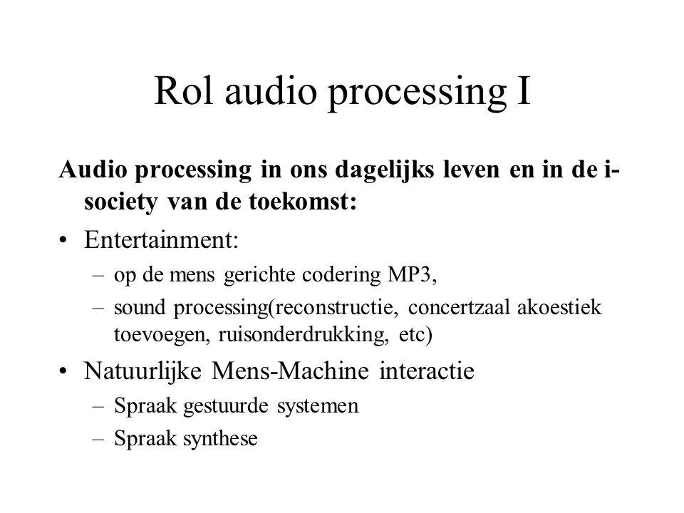 Rol audio processing I Audio processing in ons dagelijks leven en in de i- society van de toekomst: Entertainment: –op de mens gerichte codering MP3, –sound processing(reconstructie, concertzaal akoestiek toevoegen, ruisonderdrukking, etc) Natuurlijke Mens-Machine interactie –Spraak gestuurde systemen –Spraak synthese