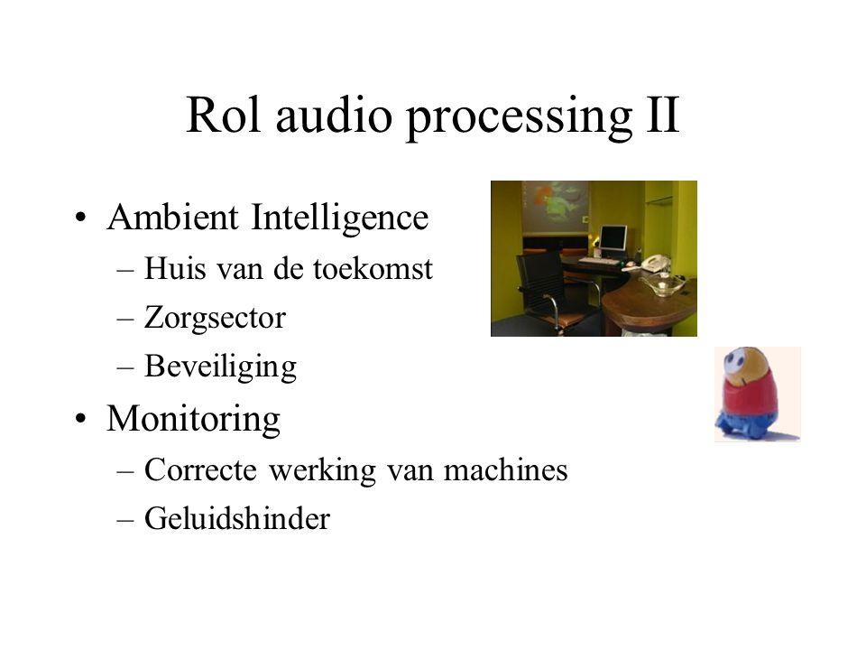 Rol audio processing II Ambient Intelligence –Huis van de toekomst –Zorgsector –Beveiliging Monitoring –Correcte werking van machines –Geluidshinder