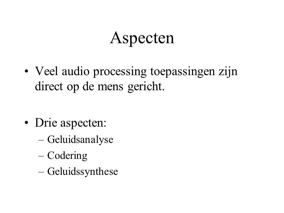Aspecten Veel audio processing toepassingen zijn direct op de mens gericht.