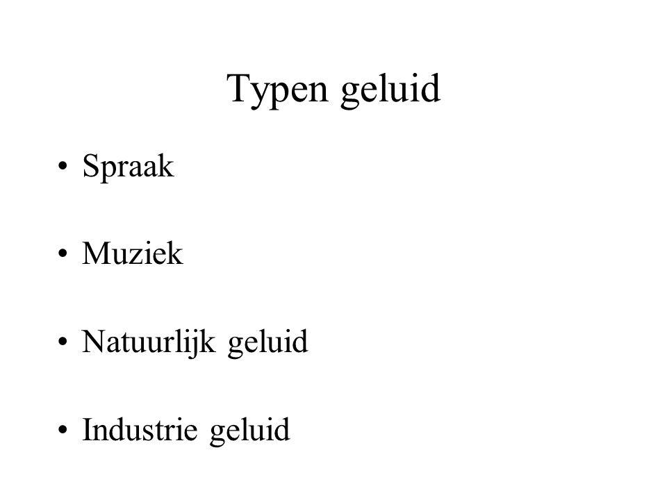 Typen geluid Spraak Muziek Natuurlijk geluid Industrie geluid