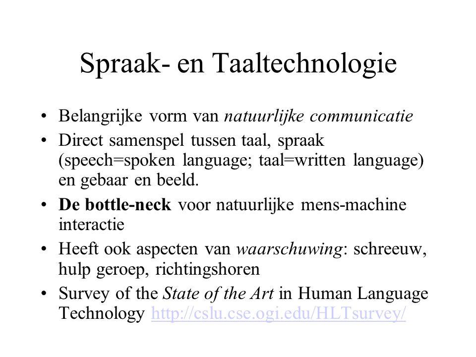 Spraak- en Taaltechnologie Belangrijke vorm van natuurlijke communicatie Direct samenspel tussen taal, spraak (speech=spoken language; taal=written language) en gebaar en beeld.