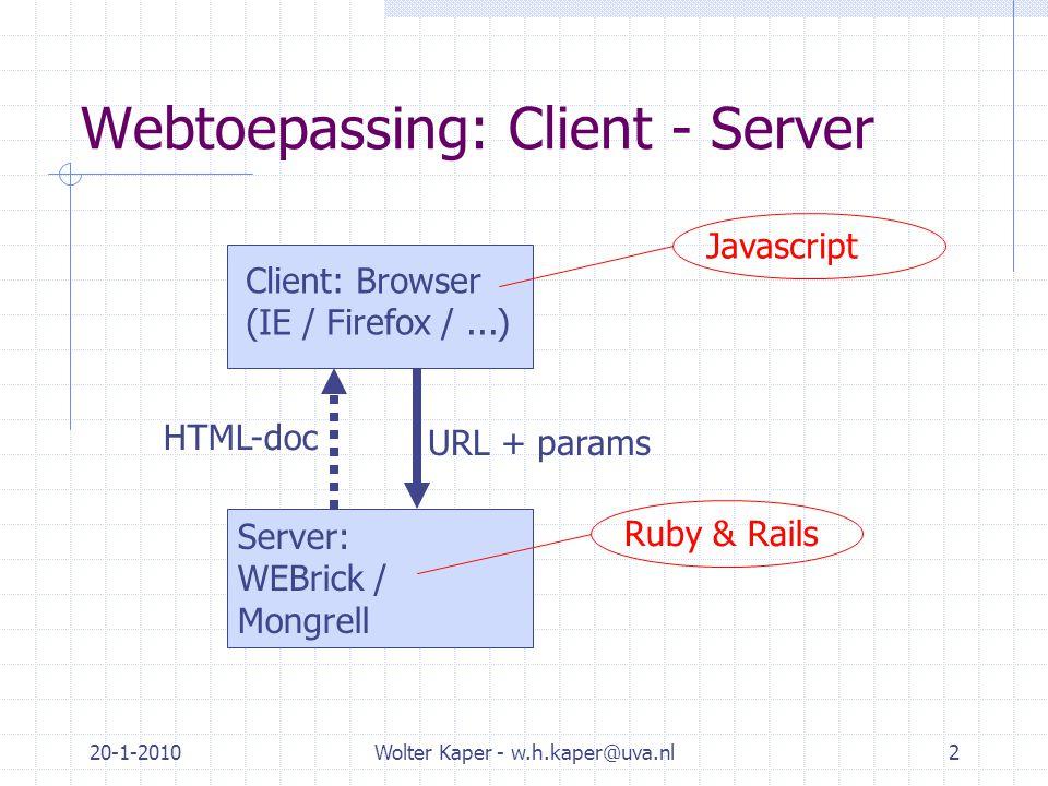 20-1-2010Wolter Kaper - w.h.kaper@uva.nl2 Webtoepassing: Client - Server Server: WEBrick / Mongrell Client: Browser (IE / Firefox /...) URL + params HTML-doc Ruby & RailsJavascript