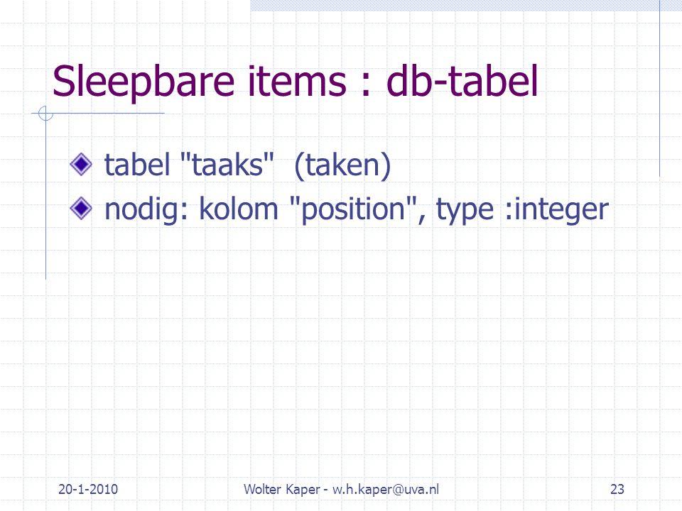 20-1-2010Wolter Kaper - w.h.kaper@uva.nl23 Sleepbare items : db-tabel tabel taaks (taken) nodig: kolom position , type :integer