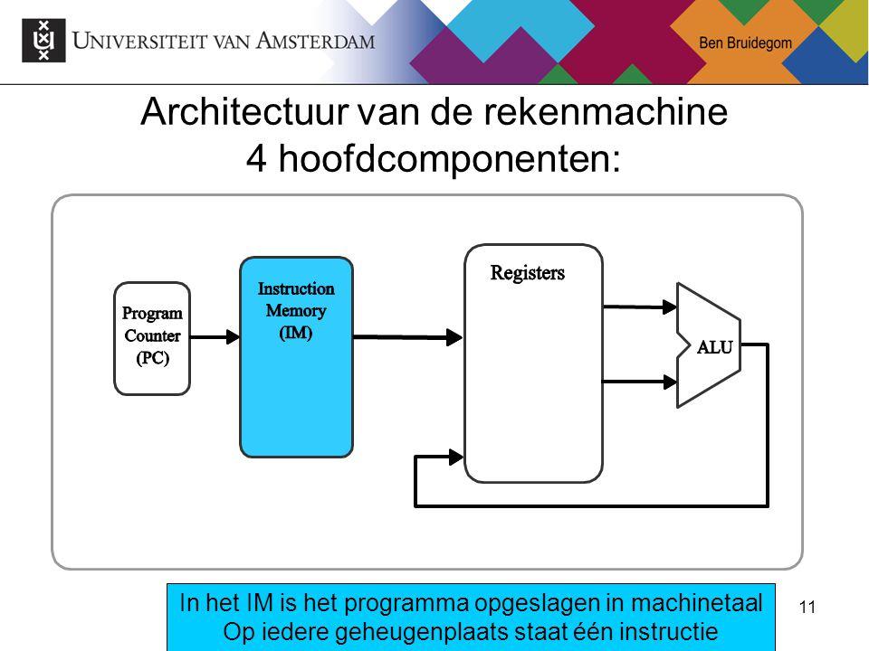 11 Architectuur van de rekenmachine 4 hoofdcomponenten: In het IM is het programma opgeslagen in machinetaal Op iedere geheugenplaats staat één instru