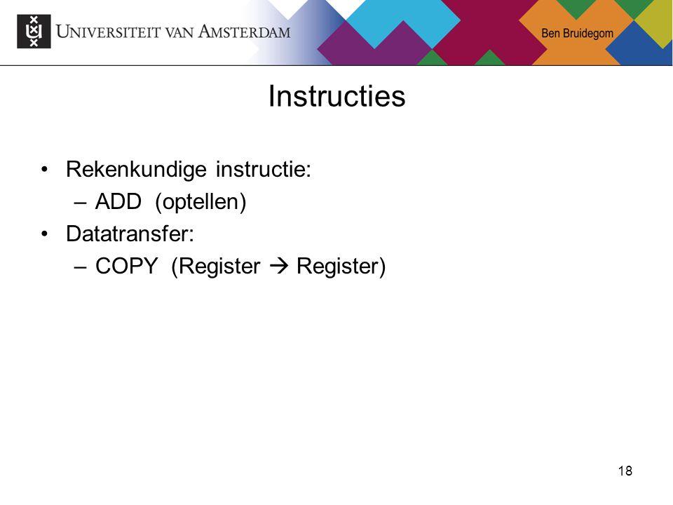 18 Instructies Rekenkundige instructie: –ADD (optellen) Datatransfer: –COPY (Register  Register)