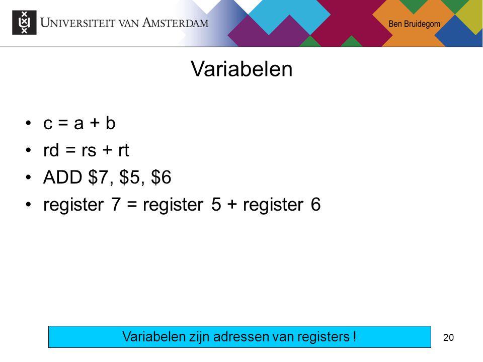 20 c = a + b rd = rs + rt ADD $7, $5, $6 register 7 = register 5 + register 6 Variabelen Variabelen zijn adressen van registers !