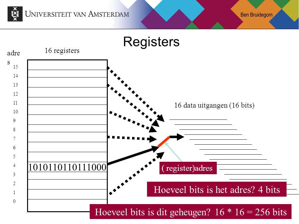 9 Registers 16 data uitgangen (16 bits) Hoeveel bits is dit geheugen? 16 * 16 = 256 bits 1010110110111000 16 registers ( register)adres Hoeveel bits i